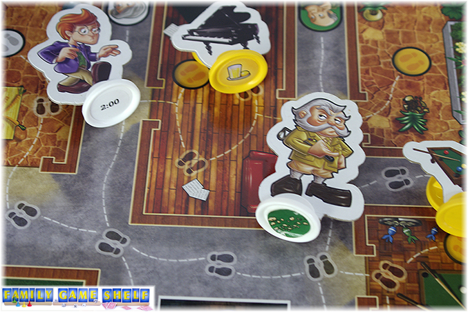 Game pieces have stickers under them showing the clues that players have to find.