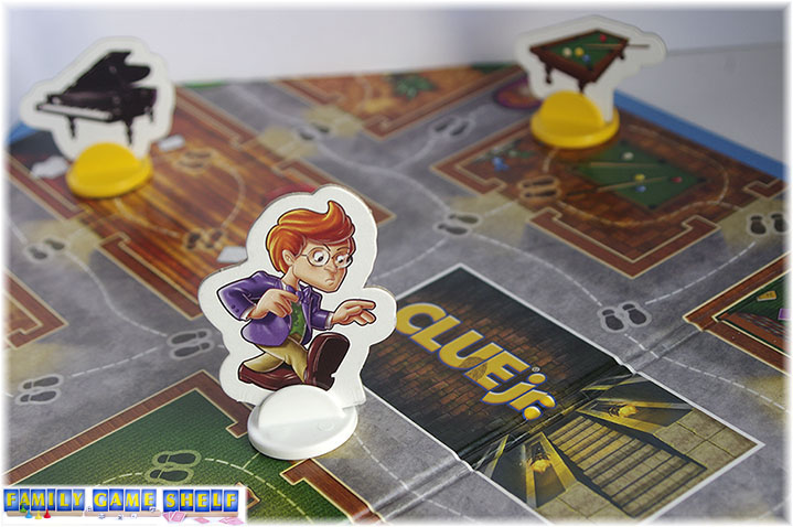 Players move characters around on a path of footprints to collect clues.