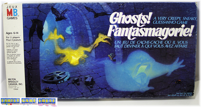 Front box cover of the game Ghosts that shows a ghost like Slimer