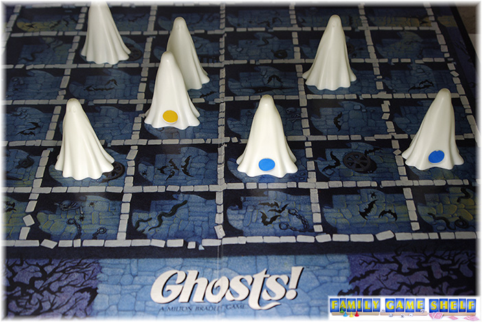 Ghosts game showing the back side of the ghosts to show if the ghost is good or bad spirited.
