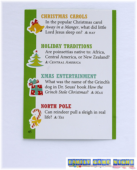 This Christmas Trivia card shows some multiple choice questions as well a yes or no answer.