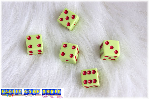 A Santa's Sleigh dice game roll of a five, a six, a three, a six and 2 fours shows a good first roll