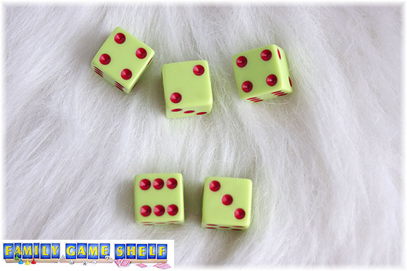 A Santa's Sleigh dice game roll of a a two and 2 fours doesn't contain a one so all three dice are rolled again