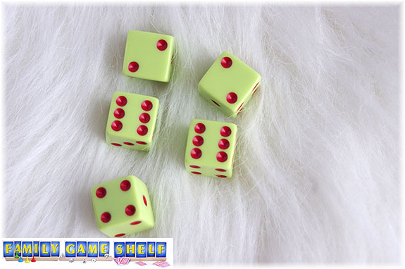 A Santa's Sleigh dice game roll of a 2 twos, 2 sixes and one four; keep one six and roll again