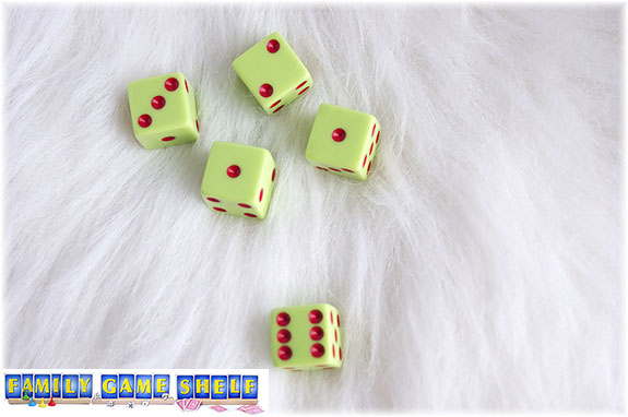 A Santa's Sleigh dice game roll of a two, a  three and 2 ones; the three and one of the ones are keeps and the one and two can be rolled again or kept for a score of 3