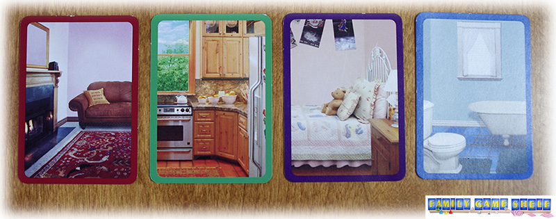 Cards show a living room, kitchen, bedroom and bathroom