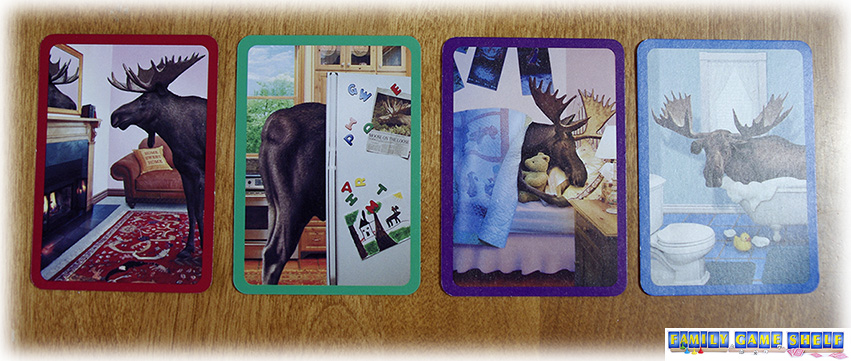 Cards show a living room, kitchen, bedroom and bathroom all  with moose in each room