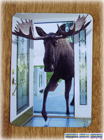 Card pictures of moose coming in the front door