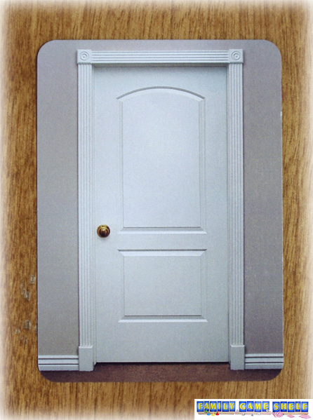 Card pictures a white door that is shut
