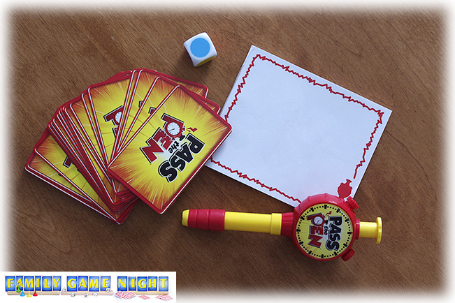 The game comes with a special dice, cards, paper and a Pass the Pen pen