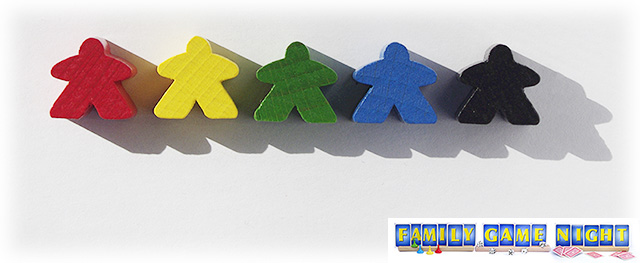 The meeples come in red, yellow, green, blue and black