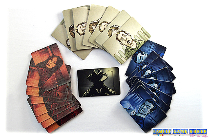 Codenames comes with four types of cards; blue, red, by standers and one assassin card